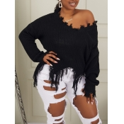 lovely Leisure V Neck Asymmetrical Black Sweater