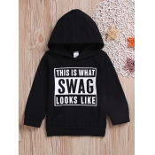 lovely Casual Hooded Collar Letter Print Black Boy Hoodie