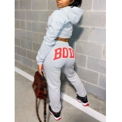Lovely Casual Hooded Collar Letter Print Grey Two Piece Pants Set