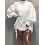 lovely Casual Half A Turtleneck Fold Design White Mini Dress