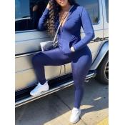 Lovely Casual Turndown Collar Zipper Design Blue Two Piece Pants Set