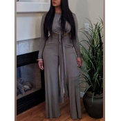 lovely Leisure O Neck Lace-up Grey Two Piece Pants Set