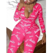 Lovely Stylish Letter Print Rose Red One-piece Jumpsuit(Batch Print)