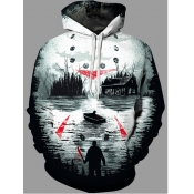 lovely Stylish Hooded Collar Print Multicolor Men Hoodie