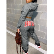 Lovely Casual Hooded Collar Letter Print Dark Grey Two Piece Pants Set