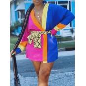 lovely Stylish V Neck Patchwork Multicolor Mini Dr