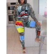 Lovely Leisure O Neck Camo Print Patchwork Two Piece Pants Set