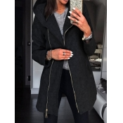 lovely Casual Hooded Collar Zipper Design Black Long Coat