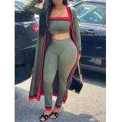 Lovely Casual Patchwork Army Green Three Piece Pants Set