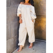 lovely Leisure Dew Shoulder Loose White One-piece Jumpsuit
