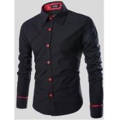 Lovely Trendy Turndown Collar Buttons Design Black
