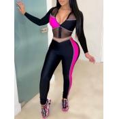 lovely Sportswear Zipper Design Patchwork Black Two Piece Pants Set
