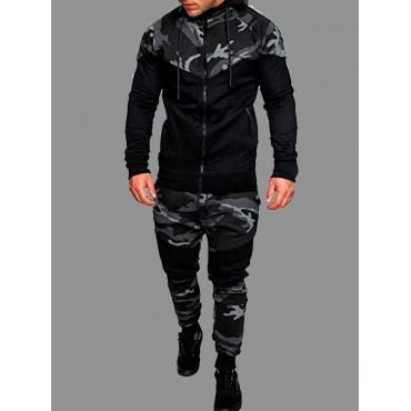 Lovely Sportswear Hooded Collar Zipper Design Camo