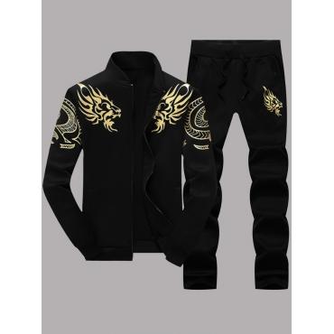 Men lovely Casual Zipper Design Print Black Men Tw