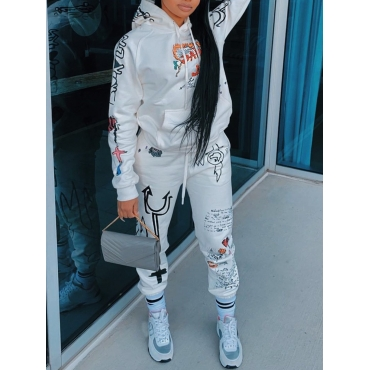 Lovely Sportswear Hooded Collar Print White Two Pi