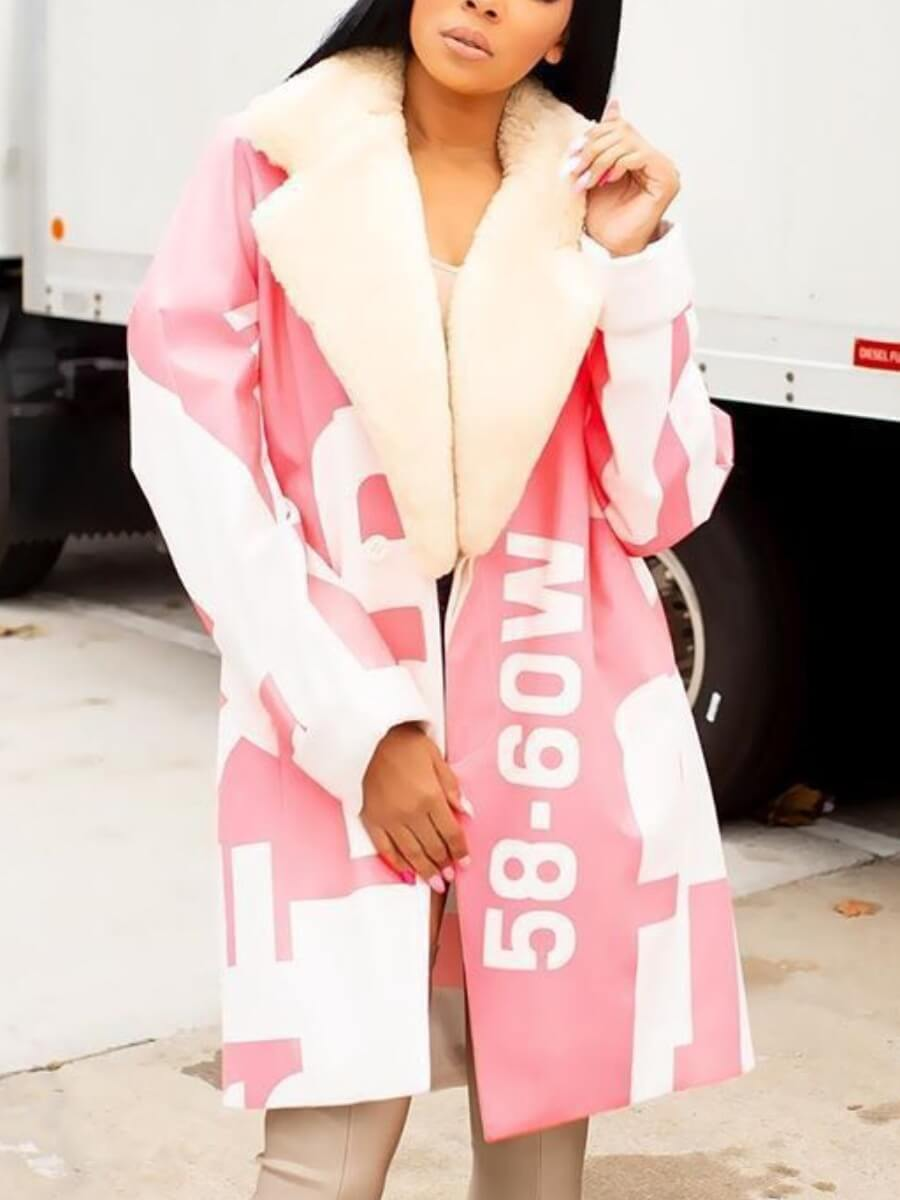 Lovely Stylish Turndown Collar Print Pink Long Coa