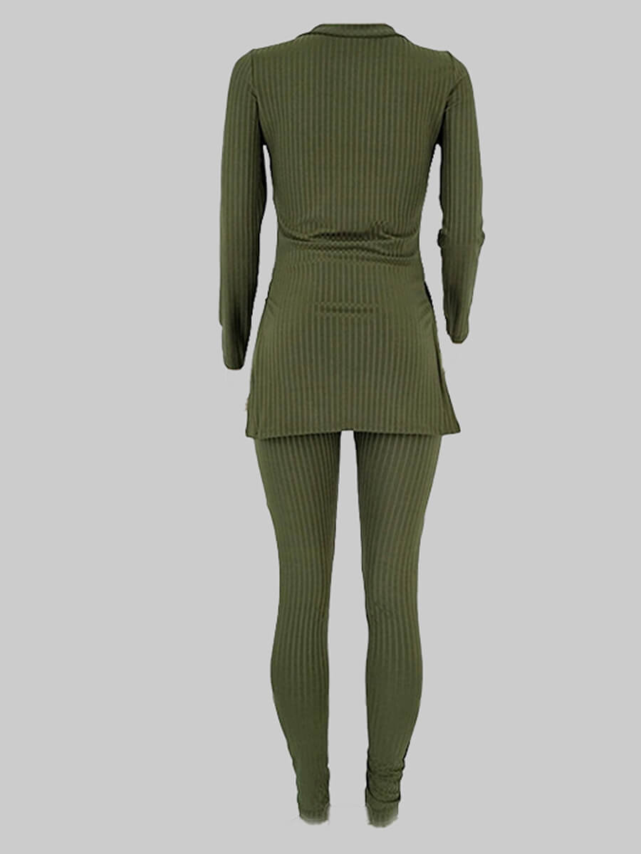 LW Plus Size Casual Basic Skinny Green Two-piece Pants Set