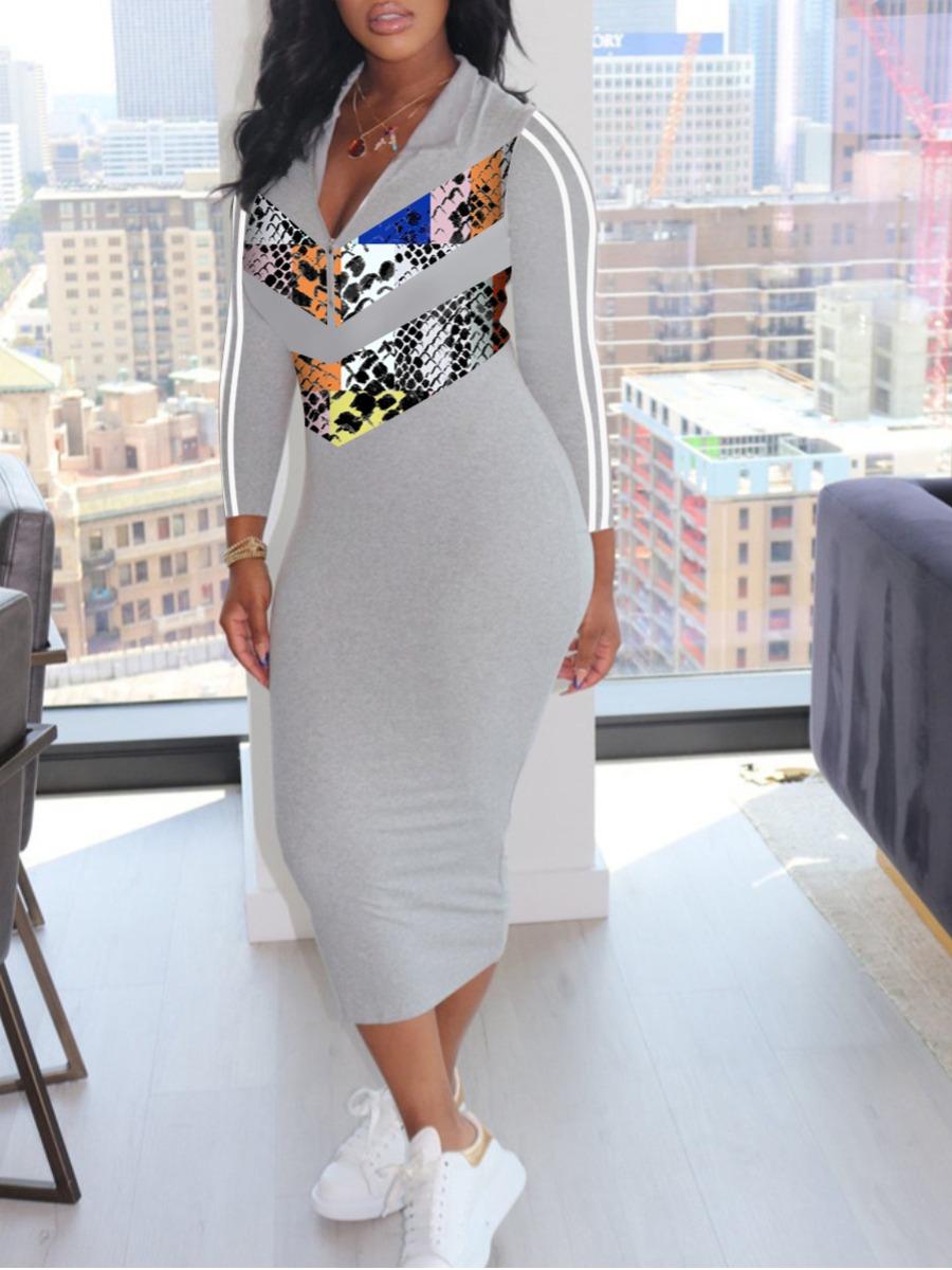 lovely Sportswear Turndown Collar Patchwork Grey Mid Calf Dress