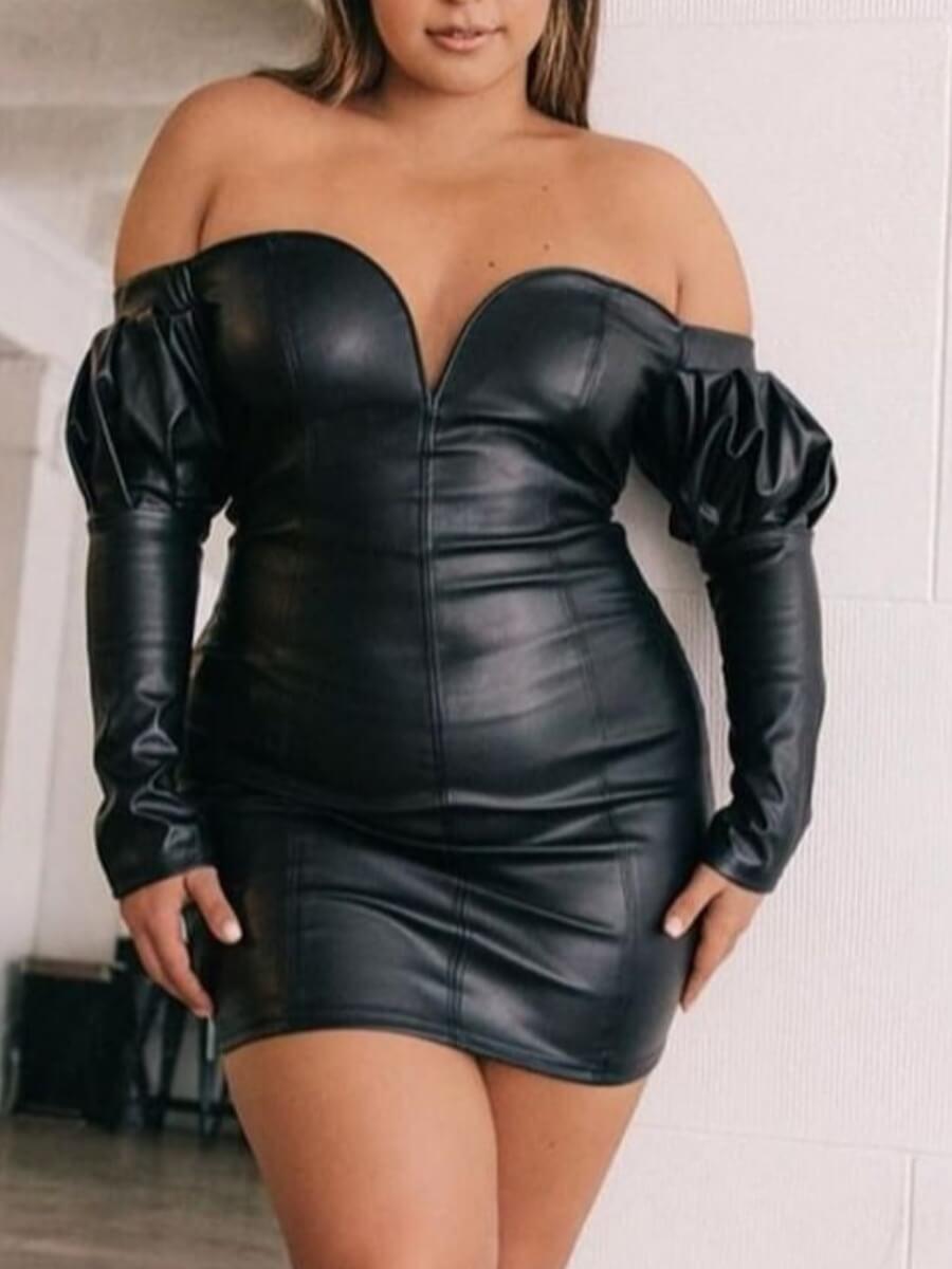 Lovely Trendy Dew Shoulder Skinny Black Mini Plus Size Dress фото