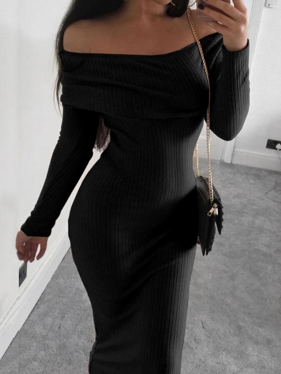 lovelywholesale / Lovely Sexy Dew Shoulder Skinny Black Mid Calf Dress