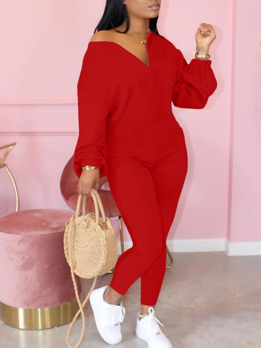 Lovely Leisure Zipper Design Red One-piece Jumpsui