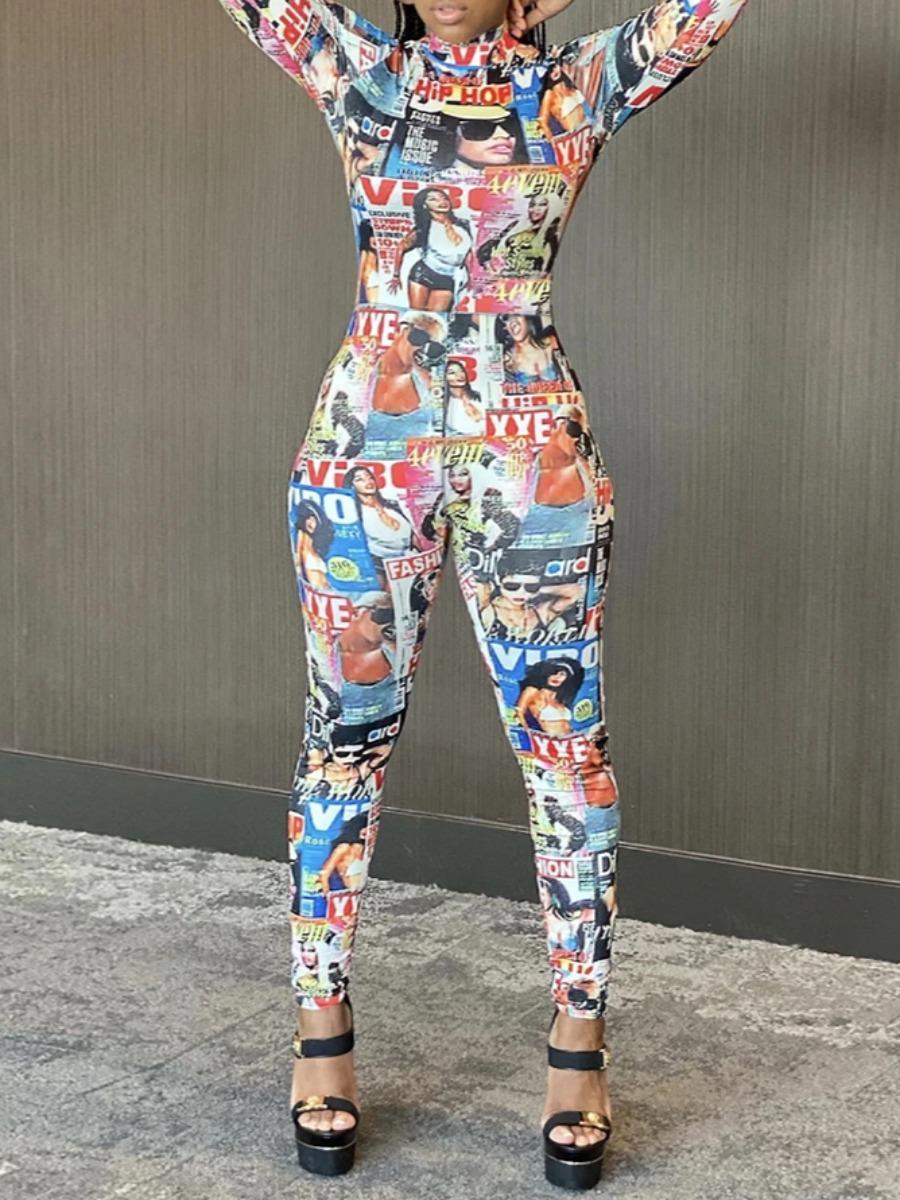 LW Figure Print Basic Skinny Jumpsuit