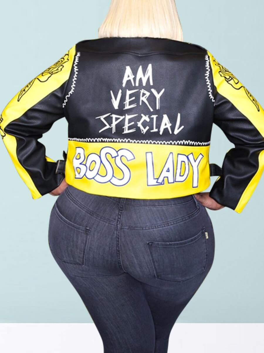 lovely Trendy Turndown Collar Print Patchwork Yellow Plus Size Jacket