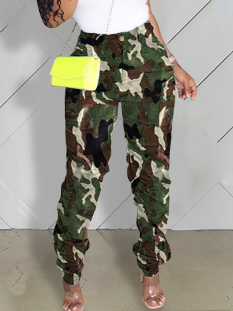 lovelywholesale / Lovely Casual Camo Print Green Jeans