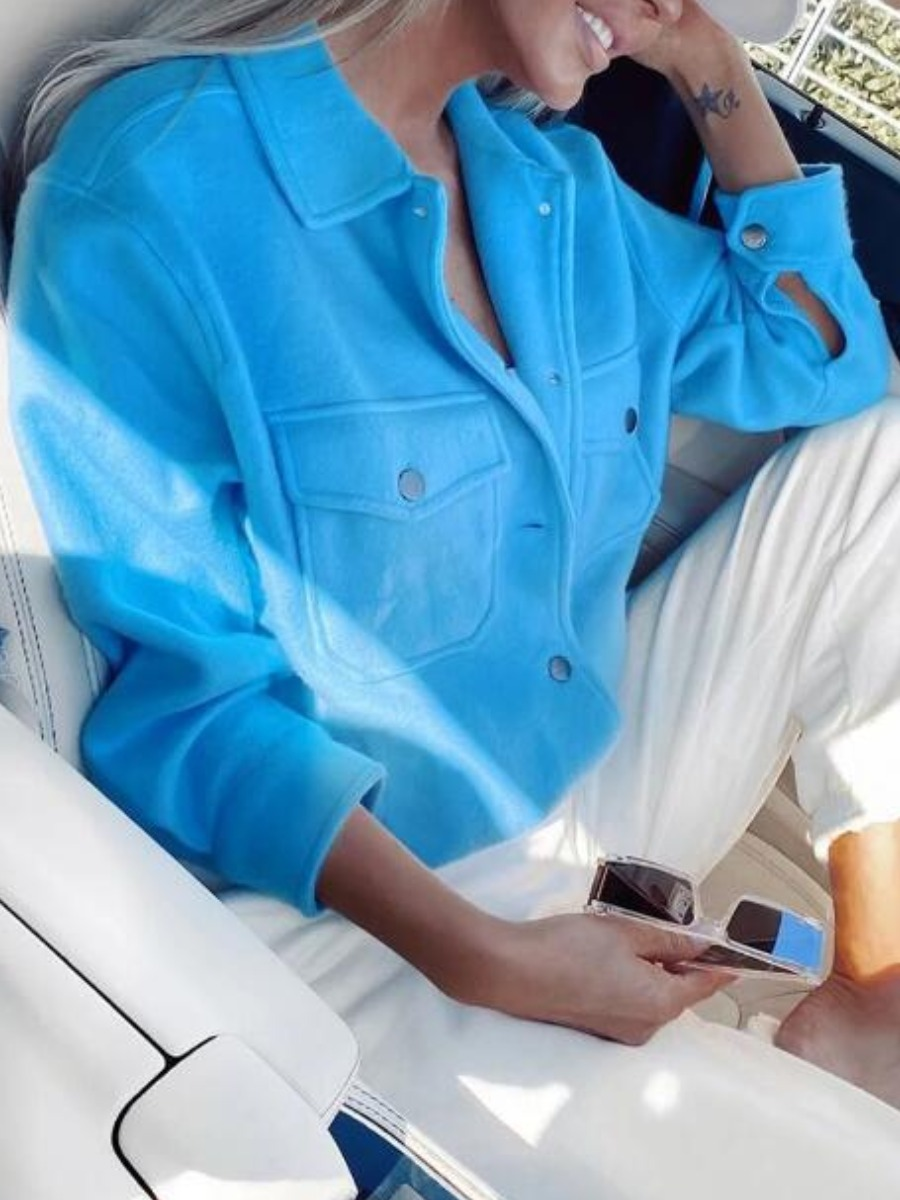 lovely Casual Turndown Collar Buttons Design Blue Jacket