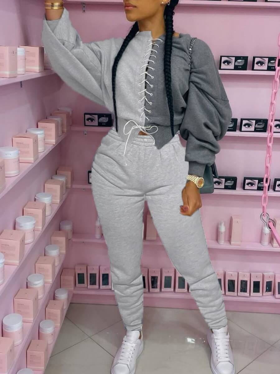 Lovely Sportswear Bandage Design Patchwork Grey Tw