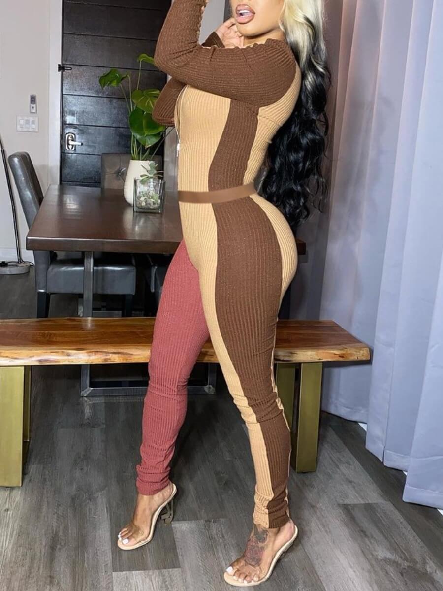 LW Sportswear Patchwork Zipper Design Pink Two Piece Pants Set