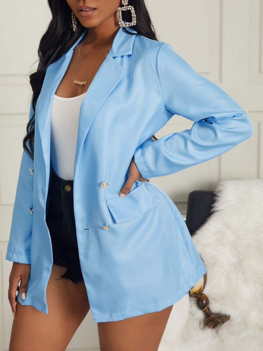 Lovely Trendy Turn-back Collar Buttons Design Blue
