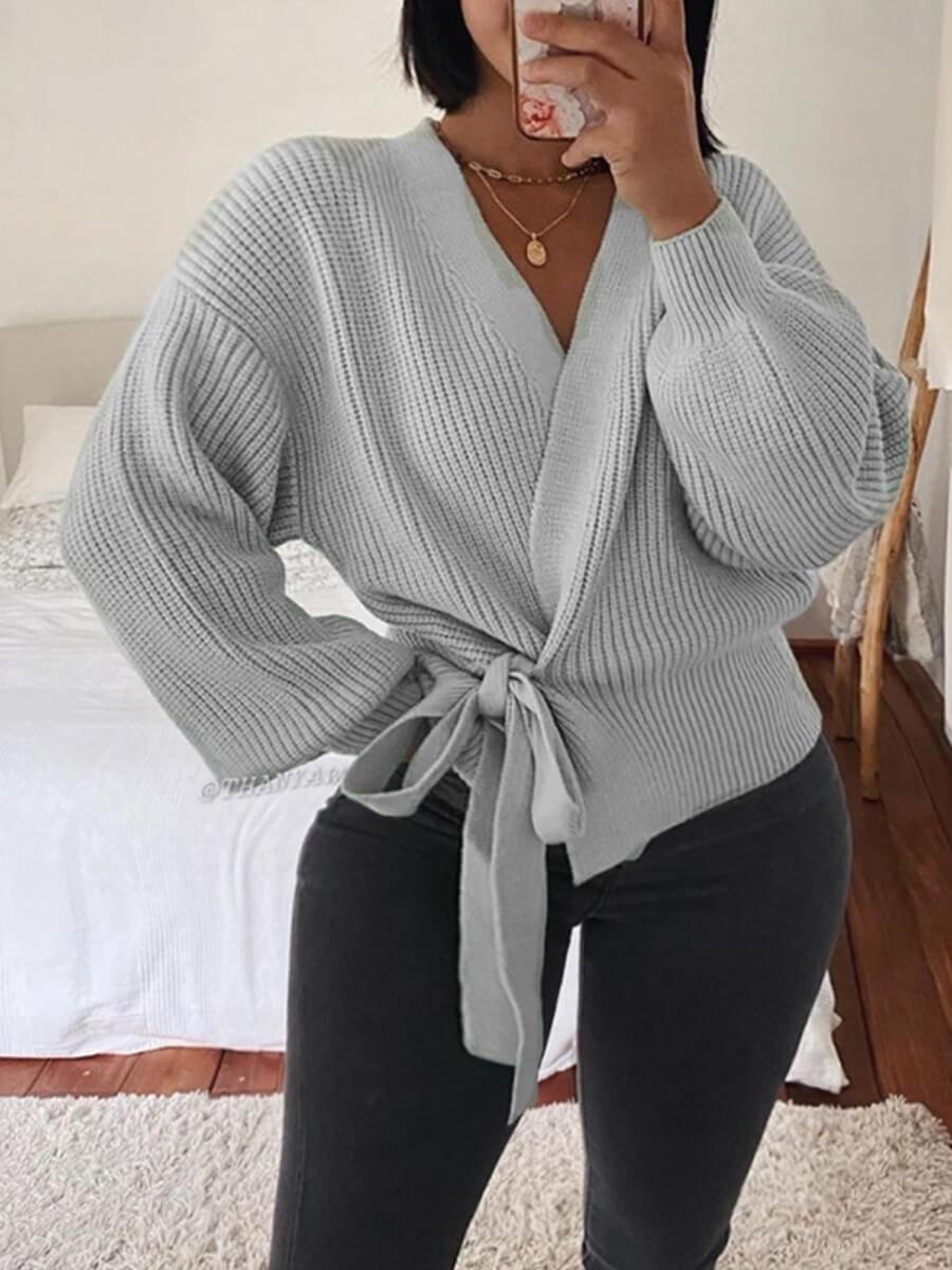 lovely Trendy V Neck Lace-up Light Grey Sweater