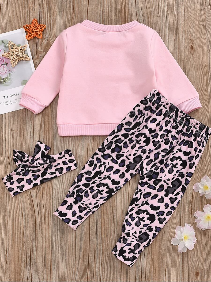 Lovely Stylish O Neck Letter Print Pink Girl Two-p