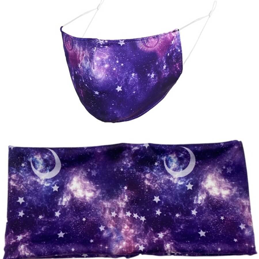 Lovely Starry Sky Print Purple Face Mask(With Head