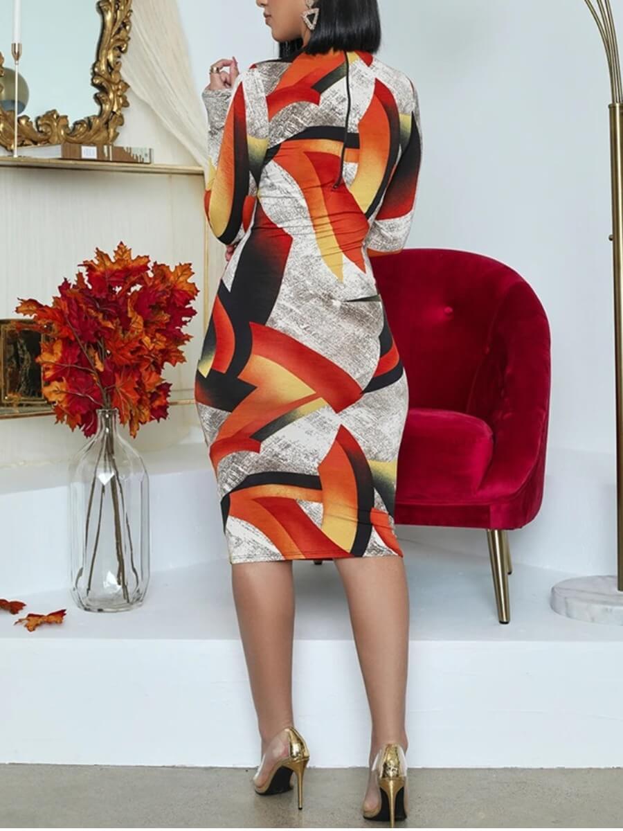 LW BASICS Casual Print Hollow-out Orange Knee Length Dress