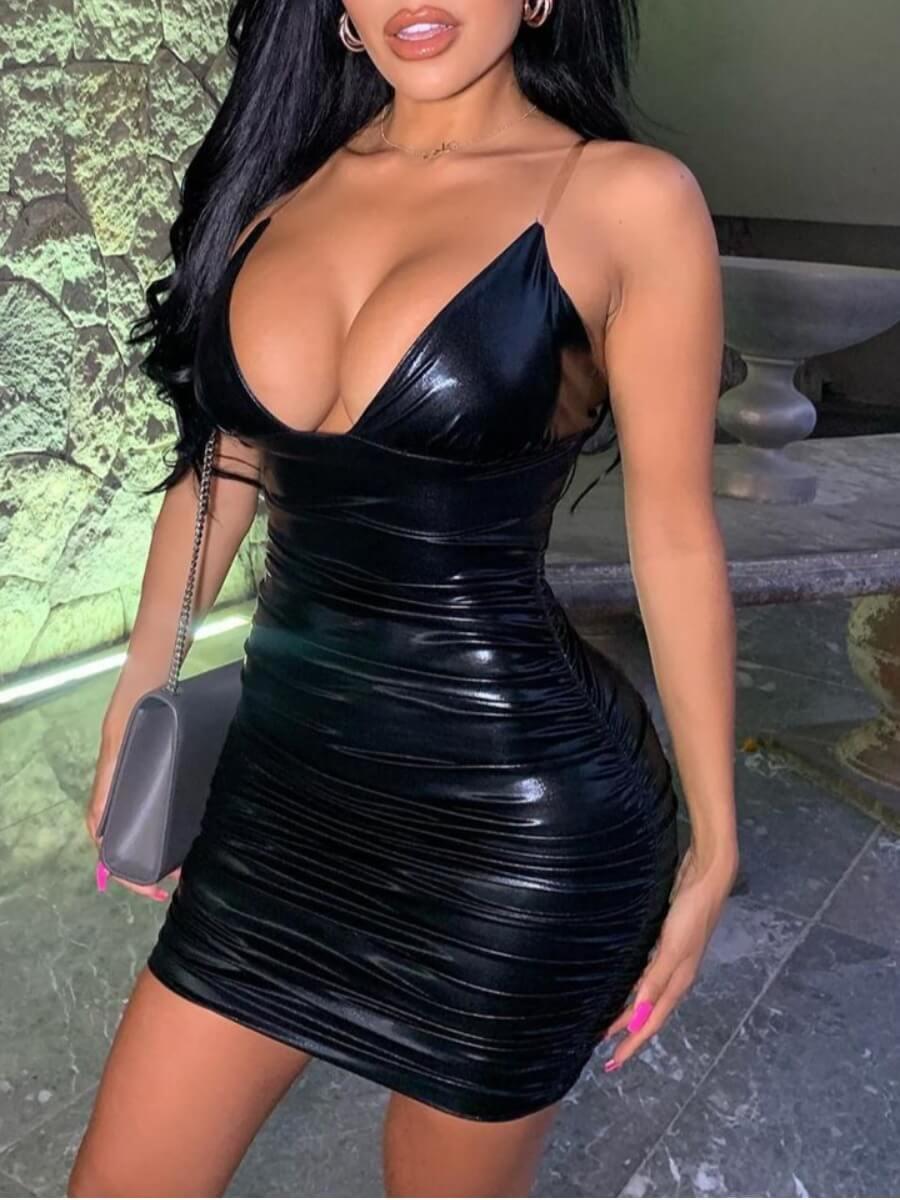 LW SXY Spaghetti Strap Fold Design Black Mini Dress