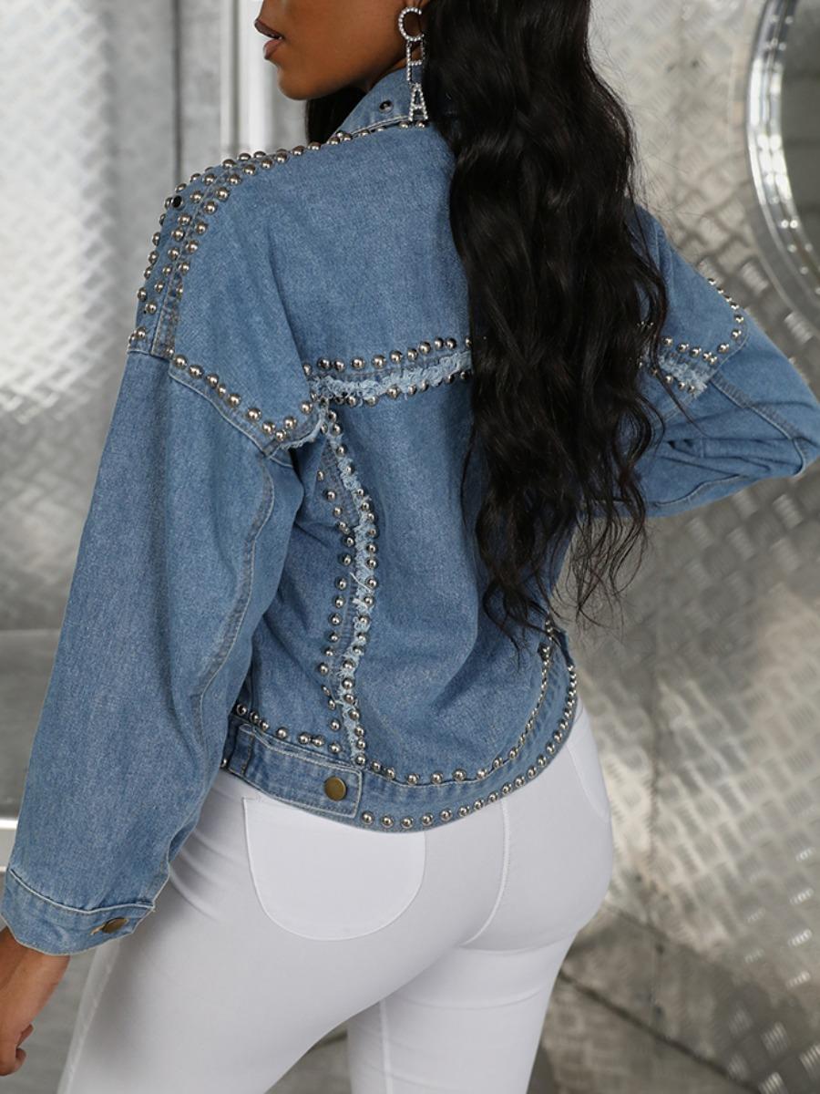 lovely Stylish Turndown Collar Rivet Decorative Blue Denim Jacket