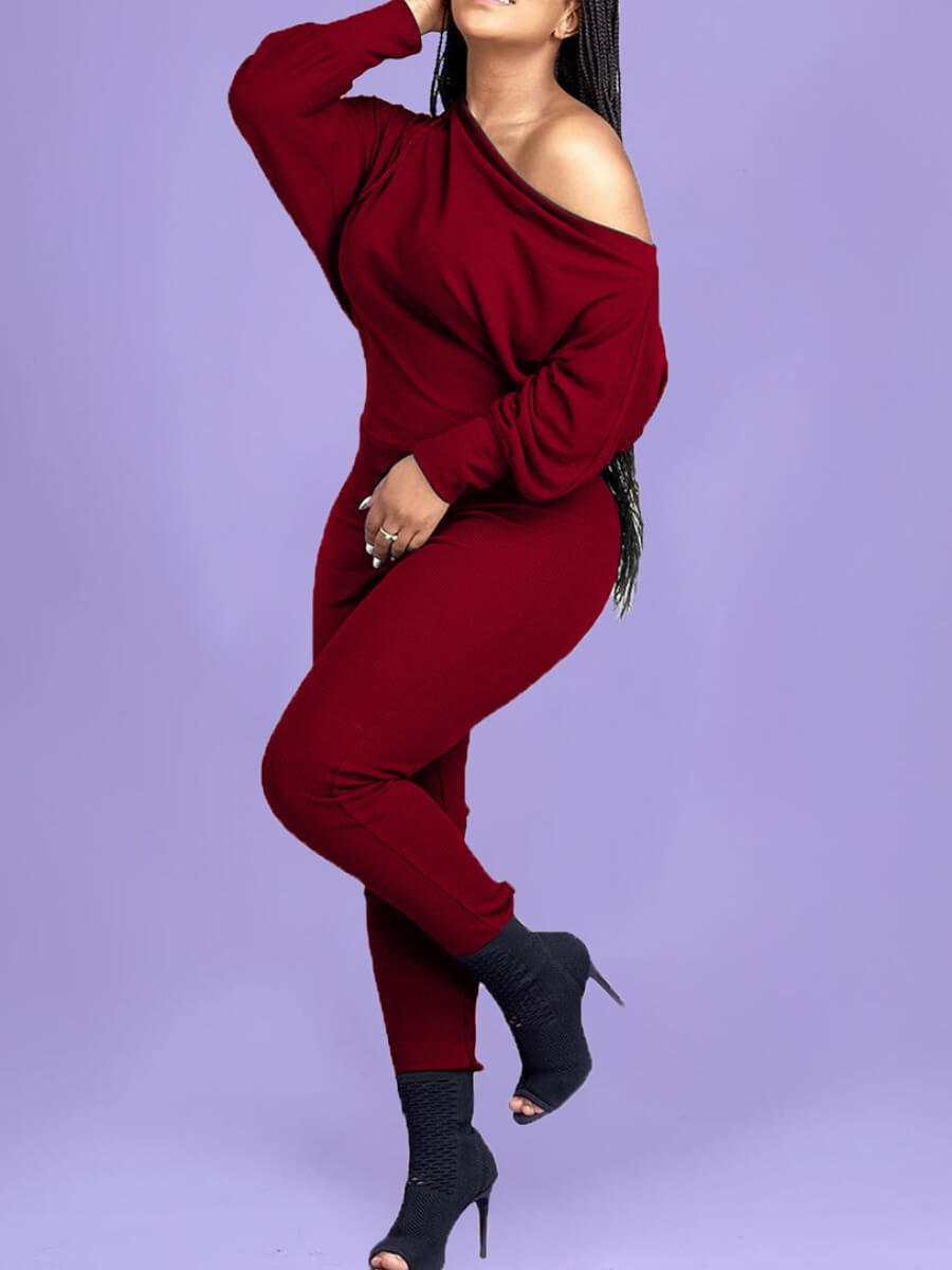 Lovely Leisure Basic Wine Red One-piece Jumpsuit