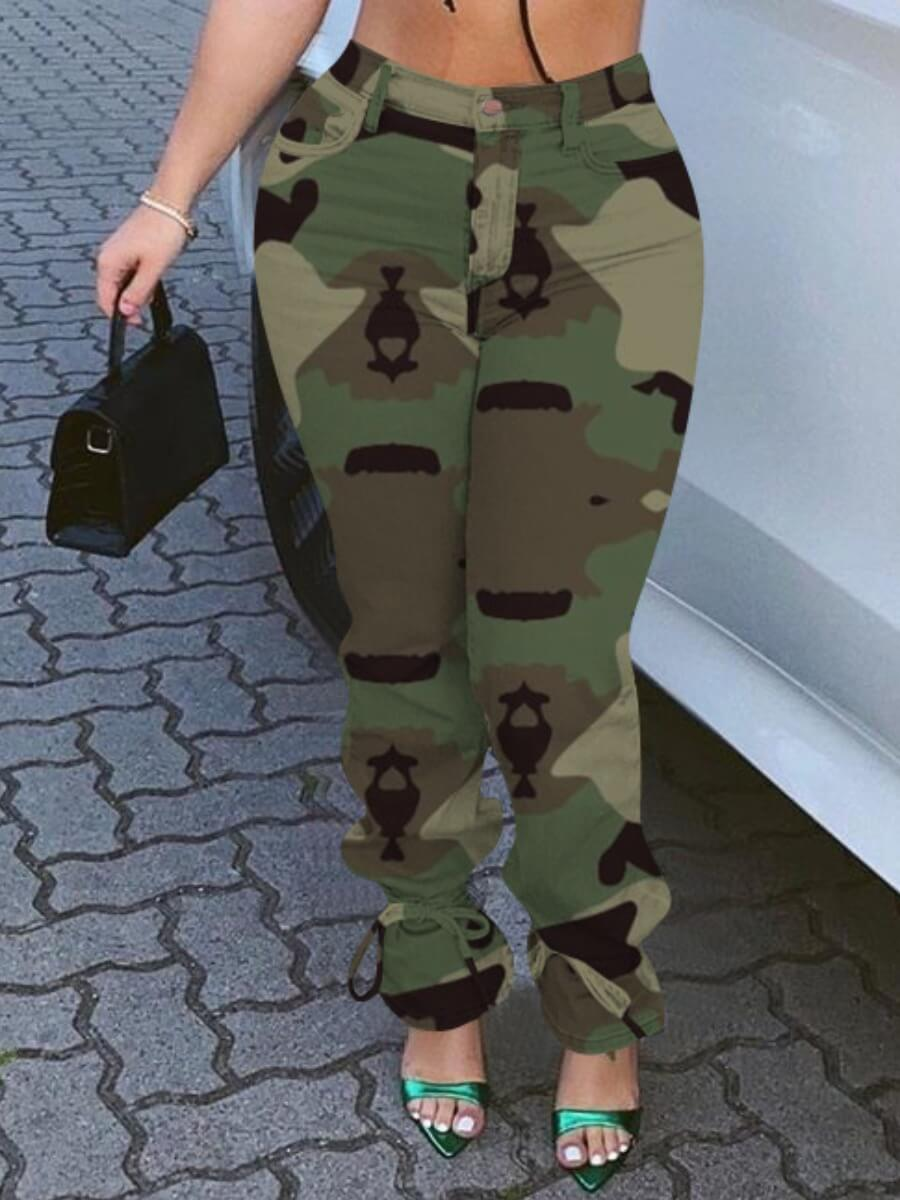 lovelywholesale / LW lovely Casual Lace-up Camo Print Army Green Jeans
