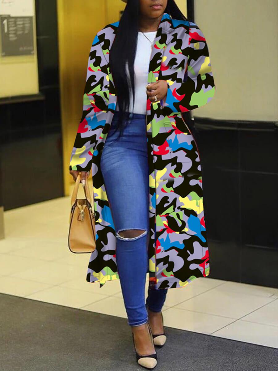 Lovely Trendy Turndown Collar Camo Print Long Coat