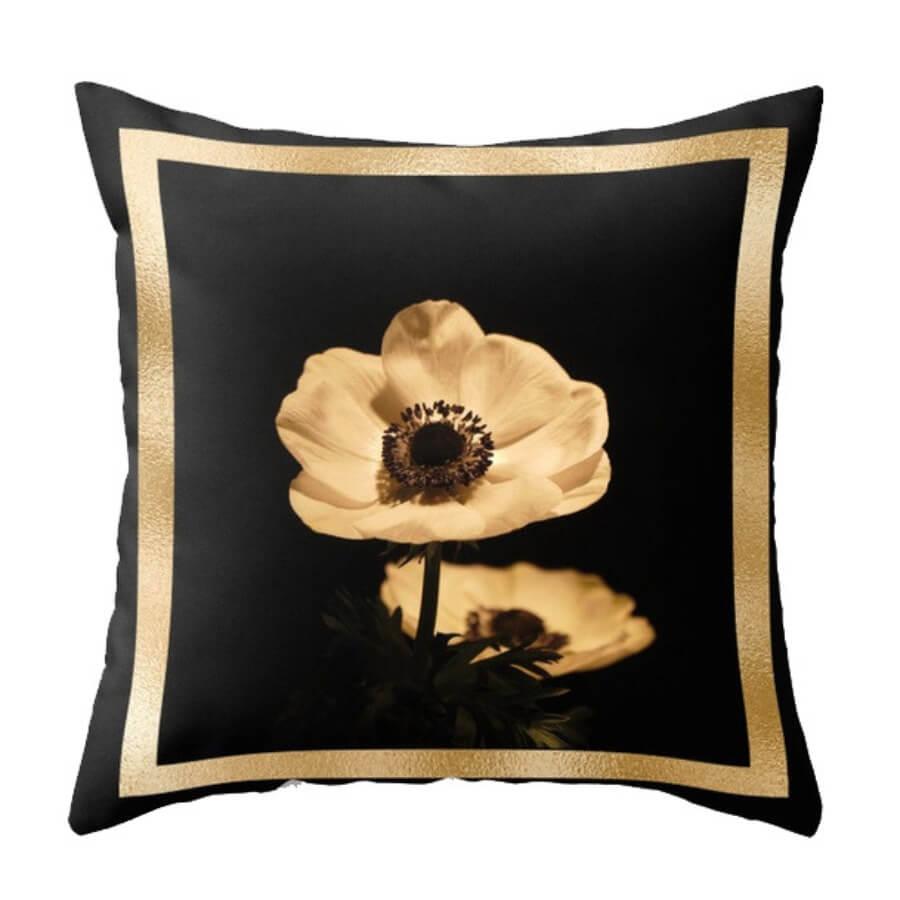 lovely Trendy Print Black Decorative Pillow Case