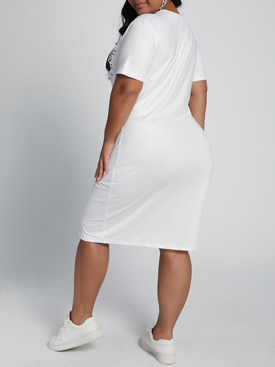 Lovely Casual O Neck Print White Knee Length Plus
