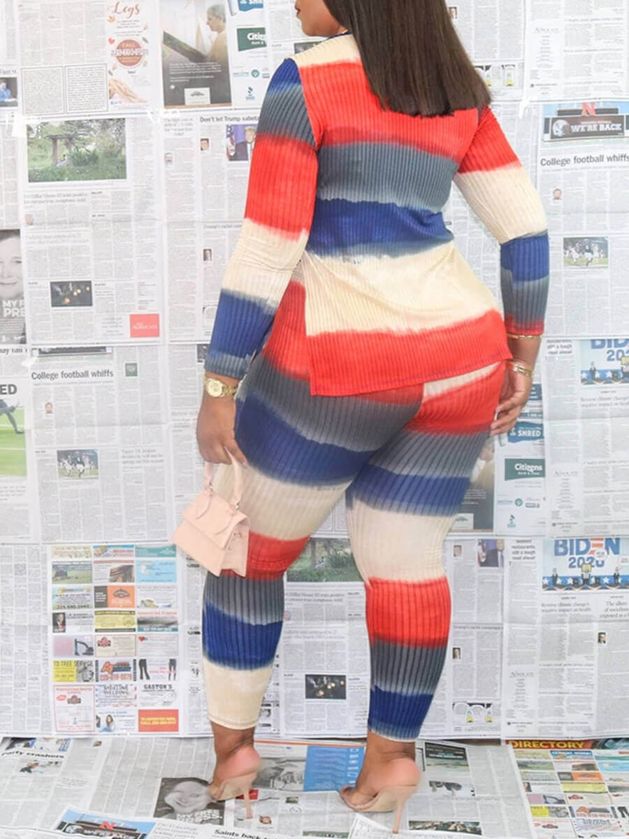 Lovely Casual V Neck Striped Print Multicolor Two Piece Pants Set