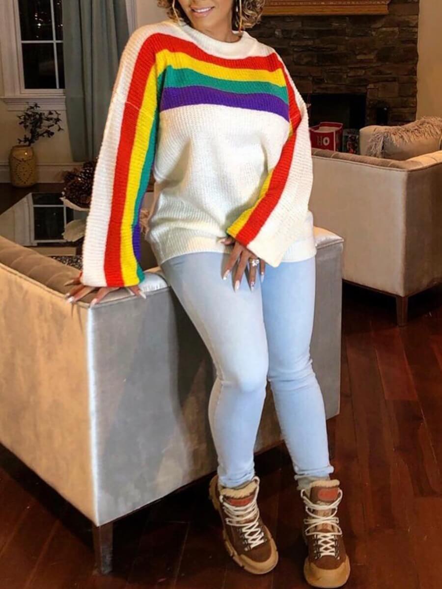 Lovely Stylish O Neck Rainbow Striped White Sweate