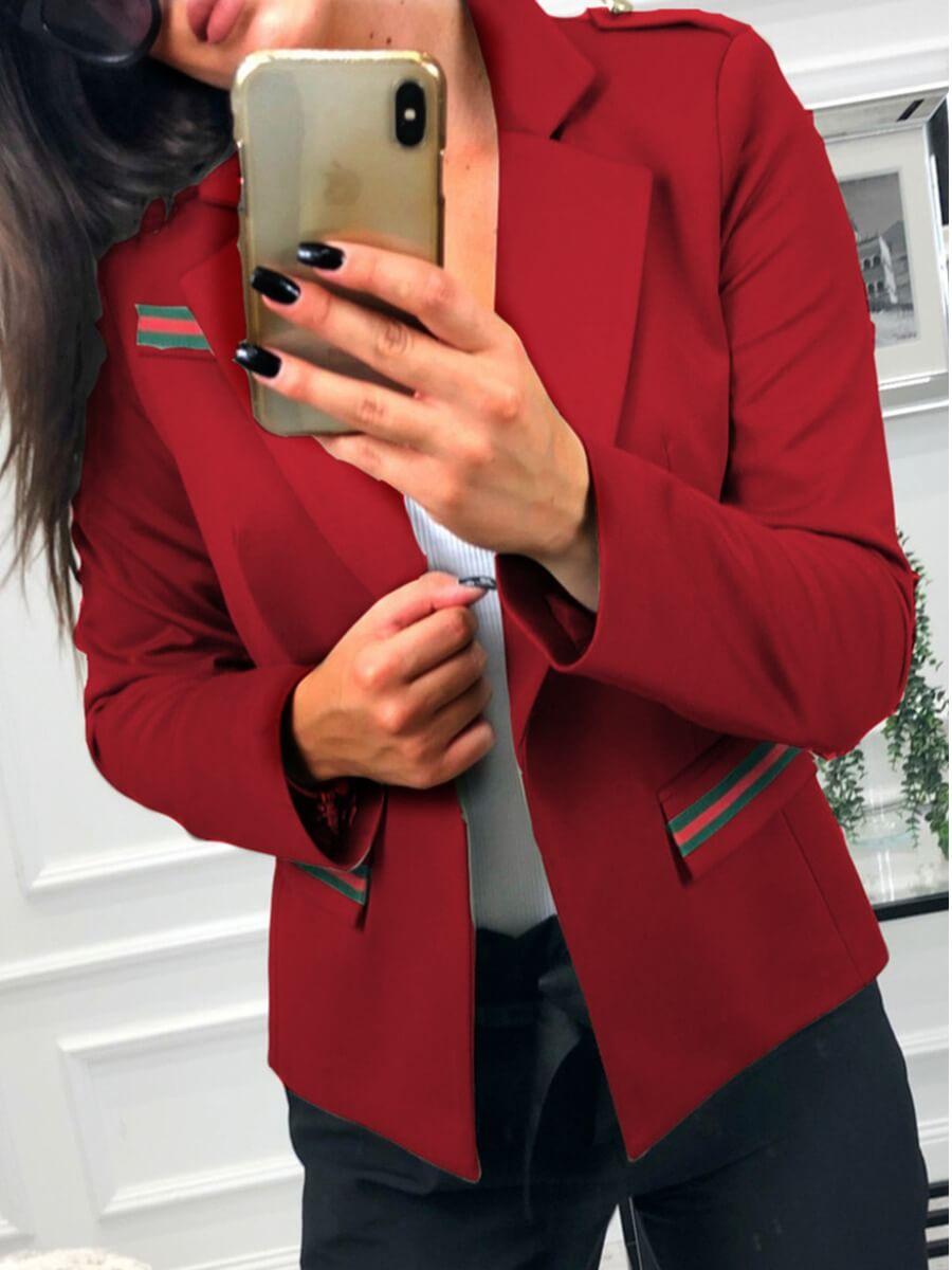 lovely Stylish Turndown Collar Patchwork Red Blazer