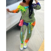 Lovely Trendy Graffiti Print Green Two Piece Pants Set