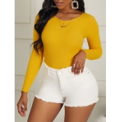 lovely Casual V Neck Long Sleeve Yellow Sweaters