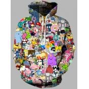 Lovely Street Hooded Collar Cartoon Print Multicolor Men Hoodie
