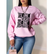 lovely Leisure O Neck Letter Print Pink Hoodie